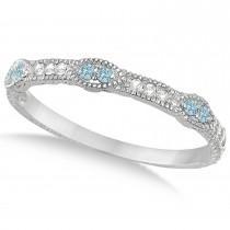 Vintage Stacking Diamond & Aquamarine Ring Band 14k White Gold (0.15ct)