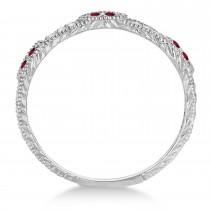 Vintage Stacking Diamond & Garnet Ring Band 14k White Gold (0.15ct)|escape