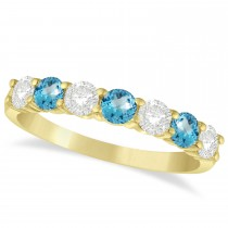 Diamond & Blue Topaz 7 Stone Wedding Band 14k Yellow Gold (1.00ct)