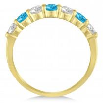 Diamond & Blue Topaz 7 Stone Wedding Band 14k Yellow Gold (1.00ct)|escape