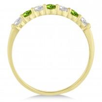 Diamond & Peridot 7 Stone Wedding Band 14k Yellow Gold (0.50ct)