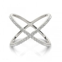 X Shaped Diamond Ring 18k White Gold 0.50ct Size 7