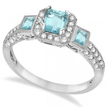 Aquamarine & Diamond Engagement Ring in 14k White Gold (1.35ctw) Size 5