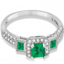 Emerald & Diamond Engagement Ring in 14k White Gold (1.35ctw)