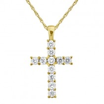 Prong-Set Diamond Cross Pendant Necklace 14k Yellow Gold (0.55ct)