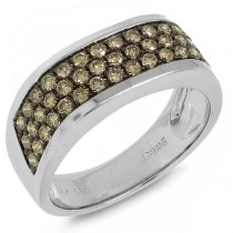 1.08ct 14k White Gold Champagne Diamond Man's Band Ring