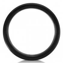 Men's Beveled Wedding Ring Band in Black PVD Tungsten (6.3mm) Size 10