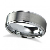 Raised Center Brushed Finish Tungsten Wedding Band (7mm) Size 12