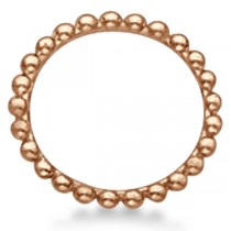 Women's Plain Metal Solid Beaded Stackable Ring 14k Rose Gold size 4