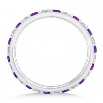 Diamond & Amethyst Eternity Wedding Band 14k White Gold (0.87ct)