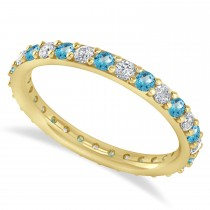 Diamond & Blue Topaz Eternity Wedding Band 14k Yellow Gold (0.87ct) - SIZE 7