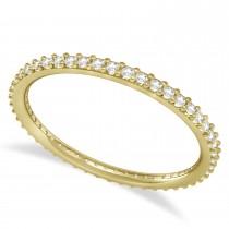 Petite Diamond Prong-Set Eternity Wedding Band 14k Yellow Gold (0.25ct)