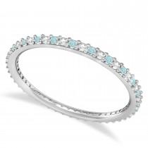 Petite Diamond & Aquamarine Eternity Wedding Band 14k White Gold (0.25ct)
