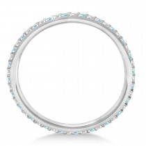 Petite Diamond & Aquamarine Eternity Wedding Band 14k White Gold (0.25ct)|escape