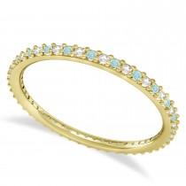 Diamond & Aquamarine Eternity Wedding Band 14k Yellow Gold (0.25ct)