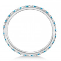 Petite Diamond & Blue Topaz Eternity Wedding Band 14k White Gold (0.25ct) - size 7.25