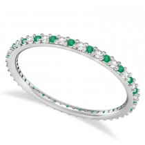 Diamond & Emerald Eternity Wedding Band 14k White Gold (0.25ct) - size 4