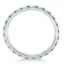 Diamond & Emerald Eternity Wedding Band 14k White Gold (0.25ct) -