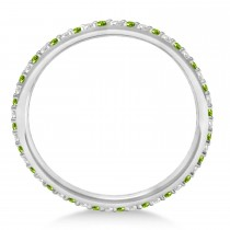 Diamond & Peridot Eternity Wedding Band 14k White Gold (0.25ct)