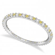 Yellow & White Diamond Eternity Wedding Band 14k White Gold (0.25ct) size 7.25