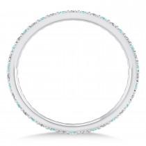 Diamond & Aquamarine Eternity Wedding Band 14k White Gold (0.57ct) size 6