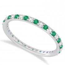 Diamond & Emerald Eternity Wedding Band 14k White Gold (0.57ct)