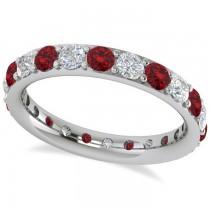 Diamond & Ruby Eternity Wedding Band 14k White Gold (1.76ct)