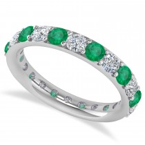 Diamond & Emerald Eternity Wedding Band 14k White Gold (1.98ct) Size 5