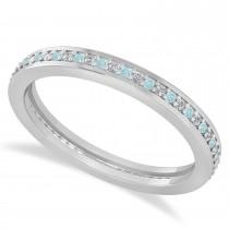 Diamond & Aquamarine Eternity Wedding Band 14k White Gold (0.28ct) size 8