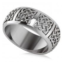 Celtic Wedding Ring Band 14k White Gold