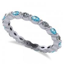 Diamond & Blue Topaz Marquise Wedding Ring Band 14k White Gold (0.74ct) size 7