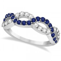 Blue Sapphire Twisted Infinity Diamond Ring in 14k White Gold (1.09ct) Size 5.25