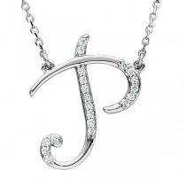 Personalized Diamond Cursive P Initial Pendant Necklace 14k White Gold