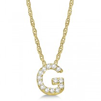 Petite Pave Diamond Initial Pendant Necklace 14k Yellow Gold Letter G