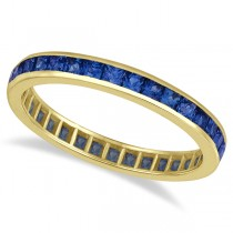 Princess-Cut Blue Sapphire Eternity Ring Band 14k Yellow Gold (1.36ct) Size 7.5