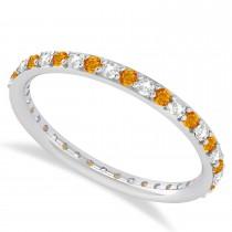 Diamond & Citrine Eternity Wedding Band 14k White Gold (0.57ct)