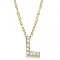 Petite Pave Diamond Initial Pendant Necklace 14k Yellow Gold Letter L