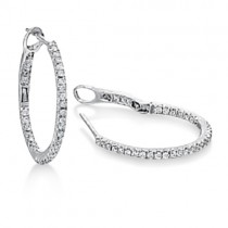 Hidalgo Micro Pave Diamond Hoop Earrings 18k White Gold (0.67ct)|escape
